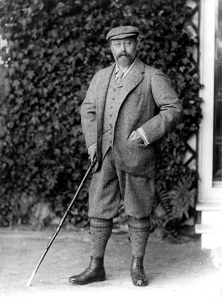 1892: King Edward VII (1841 - 1910) wearing knickerbockers and holding a cane. (Photo by W. & D. Downey/Hulton Archive/Getty Images)