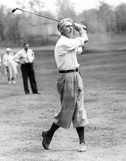 ..OUTSIDE TRIBUNE CO.- NO MAGS, NO SALES, NO INTERNET, NO TV.. Tommy Armour, the old Silver Fox, makes a brassie shot on the fairway up to the tenth green. Date and location is unknown, Chicago Tribune file photo. Chicago Tribune Lab by LAB tba 00248251A Armour